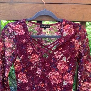 NWT Macy's Floral Lace Peasant Blouse